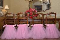 ingrosso fasce di copertura della sedia in pizzo avorio-Gonna per sedie da sposa per feste di compleanno forniture per sedie tutu per sedie su misura