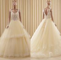 Wholesale bohemia wedding dresses resale online - Vintage Sheer Wedding Dresses Sheer Deep V Neck Backless Bohemia Lace Applique Wedding Gowns Court Train Long Bridal Dress