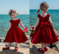Wholesale White Velvet Tea Length Dress - Little Red Velvet Tea Length Flower Girl Dresses 2018 Jewel Neck Short Sleeves With Bow Kids Formal Wear For Birthday Weddings
