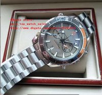 caixa de relógio do planeta oceano venda por atacado-Versão mais recente Relógio de Alta Qualidade de Luxo 42mm cinza dial Planet Ocean VK Quartz Chronograph Trabalhando Mens Relógios, nenhuma caixa