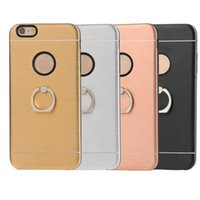 Wholesale Metal Wire Cover Iphone - 360 ring holder Metal Wire Drawing 2 in 1 Motomo cell phone Case For iPhone 7 case back protective shell cover case for iphone 6S 7 Plus