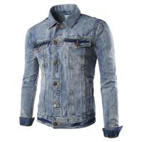 Wholesale Retro Motorcycle Clothing - Wholesale- 2016 Hot new Fashion Men's Jeans Retro washed Denim Jacket Men motorcycle Jackets Outwear Coat jaqueta masculina Spring Clothing