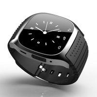 smartwatch handsfree оптовых-Смарт Bluetooth наручные часы Smartwatch M26 музыкальный плеер шагомер Handsfree наручные часы для Android IOS мобильный телефон