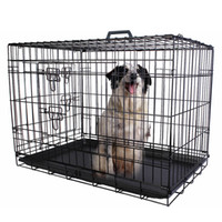 Wholesale Folding Crates - 36'' 2 Doors Wire Folding Pet Crate Dog Cat Cage Suitcase Kennel Playpen Tray