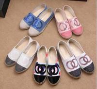 Wholesale Thick Women Shoe - New Arrival Sheepskin Genuine Leather Thick Sole Espadrilles Women's Canvas Glitter Shoes 4 colors size 35-42