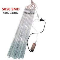 Wholesale Shower Light Christmas - 5050 SMD DC 12V Meteor Tube 50cm 48 LED Two-sided Meteor Shower Light for Holiday Decoration 10pcs set