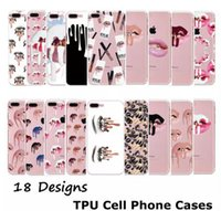 Wholesale Nail Polish Phone Cases - Cell Phone Cases For iPhone 6S 7Plus Samsung S6 s7 edge Nail Polish Sexy Lips Kylie Jenner Lip Crystal phone case Transparent Soft TPU Case