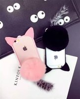 """Wholesale Pink Cat Tail - New Hot!!! 3D Cartoon Cute Fur Ball koko cute Ear Cat Tail Silicon Soft Back Case Cover for iphone 6 6S iphone plus 5.5"""" phone case DHL"""