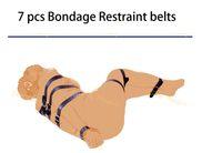 Wholesale Strap Device For Sex - Wholesale-Sex Magic 7 set PU Leather Bondage Belt Restraint Device Sex Adult Bdsm Straps Sex Furnitures For Couple Shipping Strapping Kit