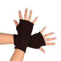 Wholesale Long Fingerless Gloves Girls - Wholesale- 2017 New Arrivals High Quality Newly Design 1 Pair Women Girls Casual Winter Middle Long Knitted Fingerless Gloves