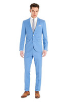 Wholesale Cheap Trimmers For Men - Sky Blue Mens Slim Fit Formal Wears Two Buttons Notched Lapel Evening Party Prom Tuxedos for Men Custom Made Groom Suits Cheap(Jacket+Pants