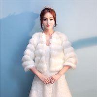 Wholesale Half Sleeve Fur Jackets - In Stock 2018 Half Sleeve Fur Bridal Wedding Jackets Winter Warm Faux Fur Bridal Shawl Bolero Wedding Bridal Wraps For Prom Wedding