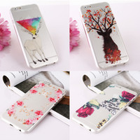 silicone do iphone 4,7 venda por atacado-Atacado-romântico flores impresso macio TPU Mobible tampa da pele do telefone caso de silicone para iphone 6 6s 4.7