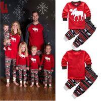 Wholesale Girls Christmas Pjs - 2016 Autumn Winter Christmas Pjs Girls Boys Reindeer Cute Animals Cotton Long Sleeve Sleepwear Nightwear Boy Girl Pajamas Set