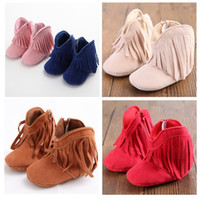 Wholesale Pink Newborn Booties - 6 Colors 3 Size Newborn Baby Girl Boy Prewalker Shoe Classic Leisure Snow Fringe Booties Shoes Infant Toddler Princess Shoes