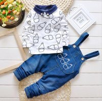 Wholesale Shirt Jeans Set - 2PCS Boys Clothing Sets Brand Cotton Long Sleeve Kids Shirt + Jeans Bib Pants Milk Print Fashion Toddler Baby Boys Clothes