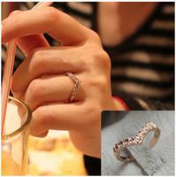 Wholesale Pinkie Ring - New Fashion V-shaped unique design inlaid imitation crystal pinkie ring Jewelry Wholesale