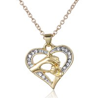 Wholesale Day Heating - New Kerea Fashion Big Hand Little Hand Alloy Diamond Chain Women Heat Pendant Necklace Mother's Day Gift