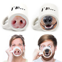 Wholesale Nose Cups - Halloween Funny Doggy Mug Ceramic Coffee Tea Cup Donkey Dog Nose Designed Coffee Tea Cup Donkey Dog Nose Designed YYA356