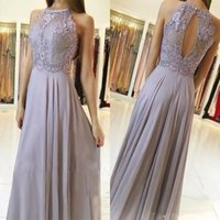 2018 Elegant Lace Bridesmaid Dresses Silver Appliques Sleeves Halter Neck Chiffon Formal Gowns Платье для выпускного вечера с длинным рукавом