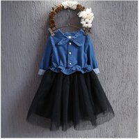 Wholesale Long Cowboy Denim Skirts - 2016 New Autumn Cute Girl Stitching Denim Lace Tulle Dress Children Long Sleeve Tutu Skirts Korean Style Kids Cowboy Stitching Dresses