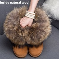 GZaco Luxury Winter Natural Fox Fur Snow Boots Реальная шерсть Lininng Low Female Sheep Fur Ankle Boots Cowhide Натуральная кожаная обувь