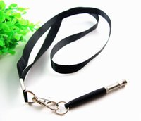 Wholesale free pitch - 50pcs Pet Dog Training Whistle Pitch Adjustable UltraSonic Sound Silent Recall Stop Nuisance Barking Safely with Free Lanyard neck