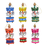 Wholesale toy wooden christmas tree - 12Pcs  Lot Wooden Carrousel Christmas Decorations For Home ,New Year Decoration Toys ,Navidad Christmas Tree Ornaments ,Child Gift