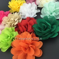 "Wholesale Headbands Bow Chiffon - 2"" mini solid color chiffon fabric rose flower for baby hair accessory 60pcs lot free shipping"