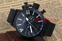 Wholesale boat steel - Black Case Luxury Brand Mens watch Sports 50mm Big Boat Silver Black Rubber Classic Round Automatic Mechanical Left Hand U Watches
