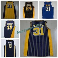 Wholesale Material Blue - New 31 Reggie Miller Throwback Uniforms Navy BLue White Yellow Black Color 13 Reggie Miller Jersey 24 Shirt Rev 30 New Material Men Size S-3