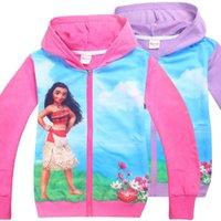 Wholesale Wholesale Girls Hooded Sweatshirts - Kids Girls Casual Moana Zipper Hoodies Novelty Hooded Sweatshirt Jacket Trolls Kids Hoodies Sweatshirts Outwear Casual Coat KKA2309