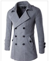 Wholesale Long Wool Overcoats For Men - Wholesale- New Men Trench Coat & Overcoat  Long Double-Breasted Pea Coat For Men Plus Size M-4XL Cheapest Price On Sale