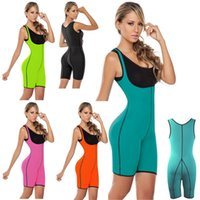 Wholesale Slimming Bodysuits - New Neoprene Sport Waist Training Corsets Zipper Sweat Vest Body Shaper Slimming Modeling Strap Latex Rubber Bodysuits Corselet 2331