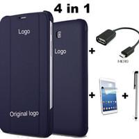 samsung tab4 cover achat en gros de-Tab4 T230 Coque en cuir PU Stand Flip pour Samsung Galaxy Tab 4 7.0 T230 T231 + Film + Stylet + OTG