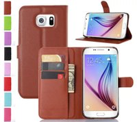 Wholesale Hard Plastic Business Cards - For Samsung S7 PLUS Litchi Skin Wallet Flip Leather Stand Holder Case Phone Cover Card Hard Plastic,S7 deluxe business mobile phone set