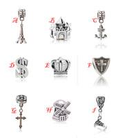 Wholesale Crown Anchor - Silver Charms European Big Hole Loose Beads Eiffel Tower Castle Anchor Crown Cross Pendants Fit Pandora Bracelets Necklaces Bangles Gifts