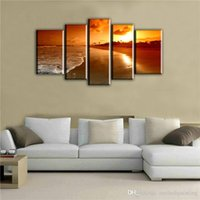 schöne ölgemälde bilder landschaft großhandel-5 Bild CombinatioNatural Sea Sunrise Landschaftsbilder Leinwand Öldruck Schöne Einfache Dekoration Wand Landschaftsbilder für Haus