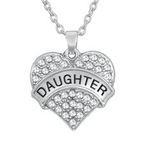 Wholesale march necklace - Love Family Daughter Big Marching Heart Necklaces Rhinestone Paved Silver Plated Alloy Metal Classy Jewelry for Girls