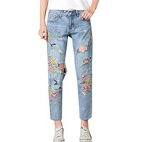 Wholesale Girls Jeans Embroider - New Arrival Fashion Retro Heavy Process Embroidered Flowers Women Denim Slim Bottoms Holes Jeans Pants for Pretty Girl