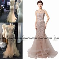 Wholesale Zuhair Murad Designer Wedding Dresses - Real Image IN STOCK Blush Sparkly Crystal Mermaid Prom Dresses Sheer Neck Tiered Zuhair Murad Arabic Occasion Formal Evening Wear Gowns