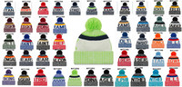 Wholesale Sports Beanie Pom - Newest USA Football 32 Team Pom Beanies Sports Beanie Knitted Hats Drop Shippping More Styles Album Offered