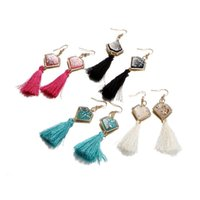 Wholesale earring superman - Fashion Cotton Tassels Earrings Geometric Superman Gold Plated Brand Glittery Acrylic Druzy Stone Crystal Earrings for Women Party Jewelry