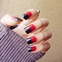 Wholesale Acrylic Red Nail Tips - Fashion False Nails Real Photos 24 pcs Red & Black Gradient Patch Nails Art Hight Quality In Stock