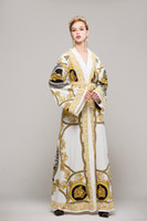 Wholesale Types Sleeves Chiffon - 2017 High-end custom dress retro fashion printing lace-type deep V-neck speaker sleeve robe dress Runway dress