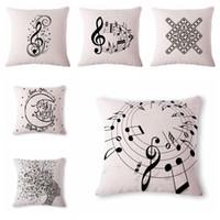Wholesale music pillow cases - Music Series Printed Cotton Linen Decorative Cushion Cover Pillow Case Car Seat 45*45cm Pillowcase Coussin Decoration