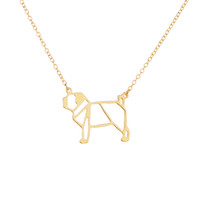 Wholesale Jewelry For Dog Lovers - Wholesale- Fashion origami pug Necklace Geometric jewelry drop ship cute dog pendant necklace Animal lover gift for ladies