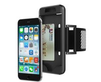 Wholesale Iphone Sport Case Strap - For iphone 7 6 6S plus amsung Galaxy S7 Edge Waterproof Silicone Sports Running Armband Case With Card Slot Wrist Strap Cover