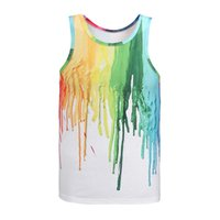 Wholesale Tank Top Hot Model - Wholesale-Hot model Europe and America fashion 7 colors pigment printing 3D vest Men tank tops casual summer tops tees