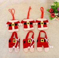 Wholesale Cheap Knife Bags - Cheap Christmas Tableware cases covers accessories Decorations Knife And Fork Bags christmas Santa Clothing Holders 2pcs Set wholesale